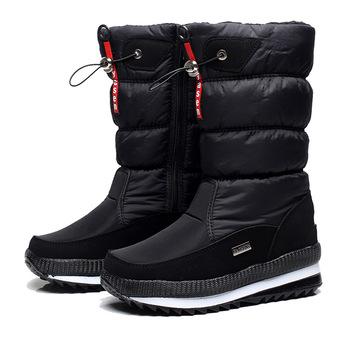 Kobiety śniegowe buty platformy zimowe buty grube pluszowe wodoodporne antypoślizgowe buty moda kobiety zimowe buty ciepłe futro botas mujer tanie i dobre opinie HAKEEM Cotton Fabric Połowy łydki Pasuje prawda na wymiar weź swój normalny rozmiar Plac toe Zima Hook loop Stałe