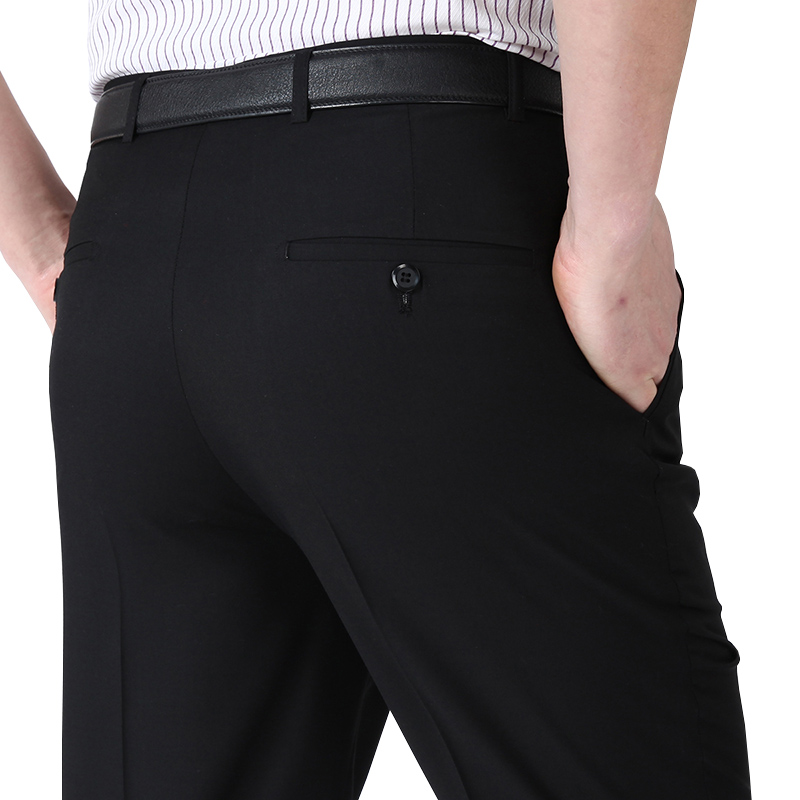Summer Men Business Thin Silk Pants 29-56 Male Big Size Formal Classic Black Breathable Office Baggy Suit Trousers For Mens