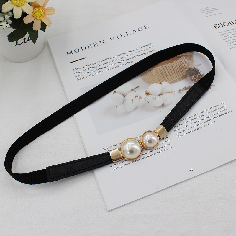 Belt Ladies Dress Fashion Pearls Buckle Elastic Waistband Wild Elastic Waist Girdle Decorative Waist Belt  Hot Sale New