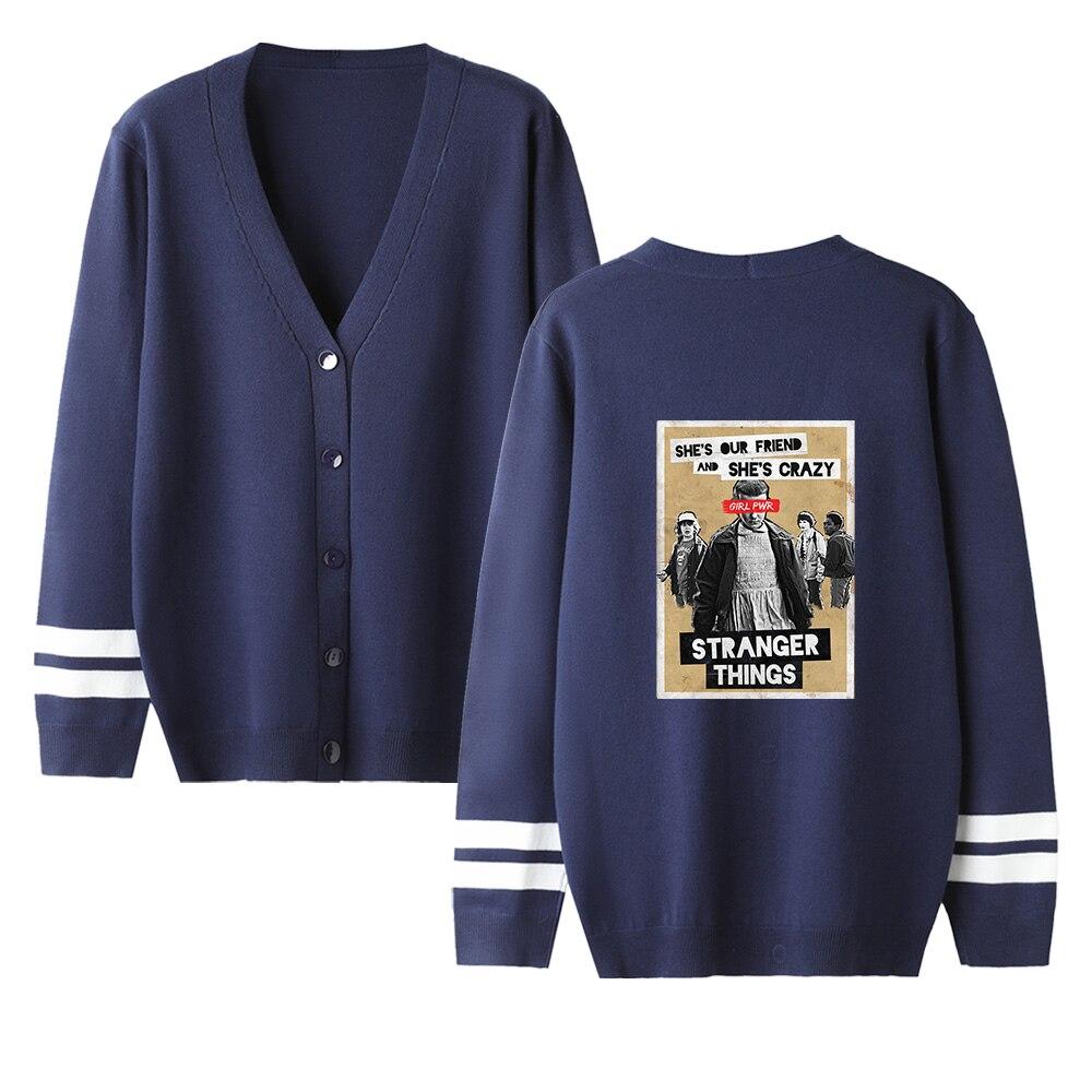 Stranger Things V-neck Cardigan Sweater Men/women Hot Fashion Casual Hip Hop Sweater Stranger Things Popular Navyblue Casual Top
