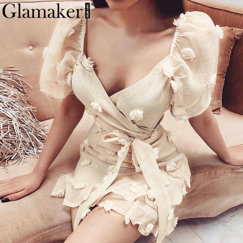 Glamaker Sexy v-ausschnitt puff hülse kurzen kleid Frauen bandage jacquard floral party kleid Frühling sommer mesh rüschen party vestidos