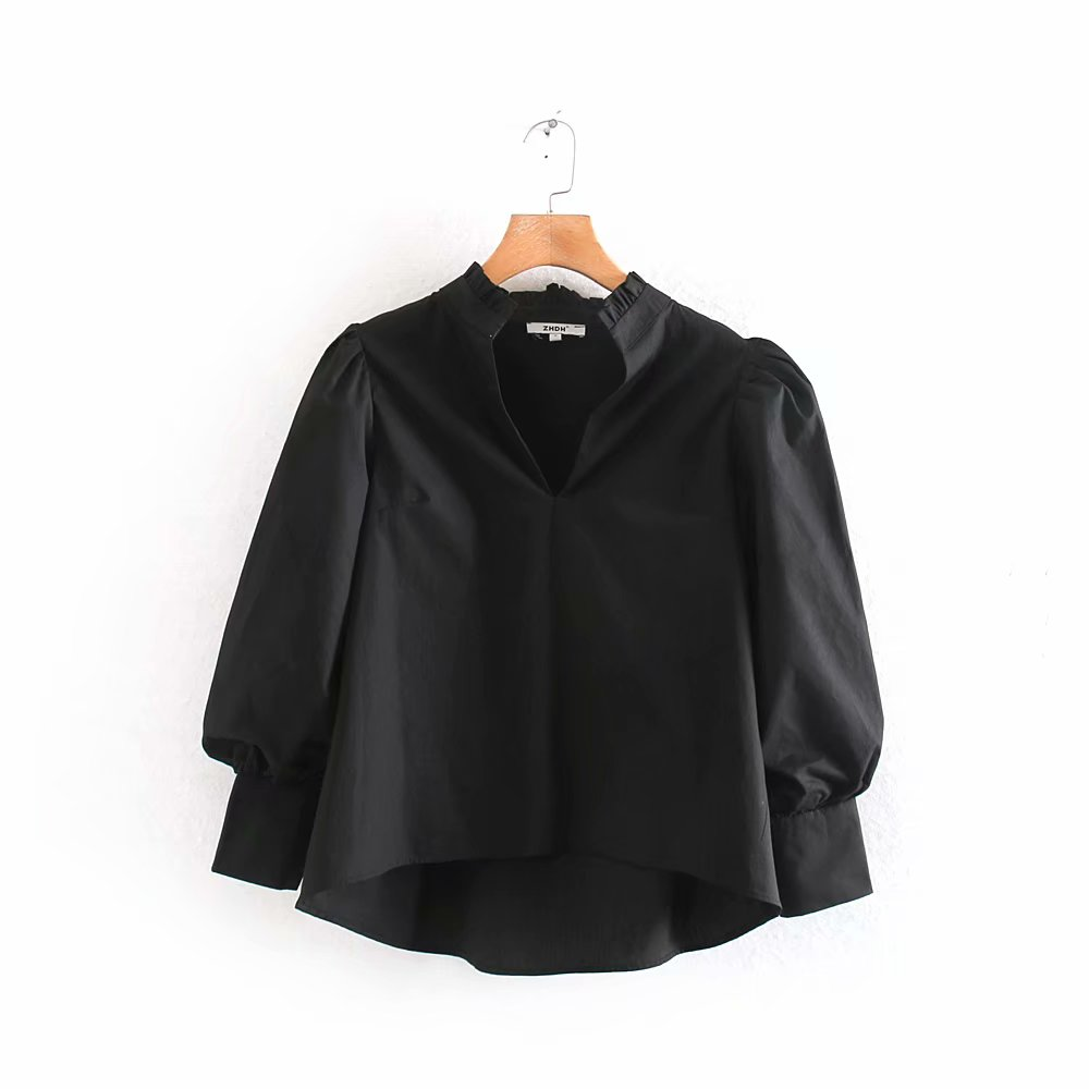 New Fashion Women V Neck Solid Color Irregular Hem Blouse Office Ladies Pleated Ruffles Black Shirts Chemise Blusas Tops LS6270