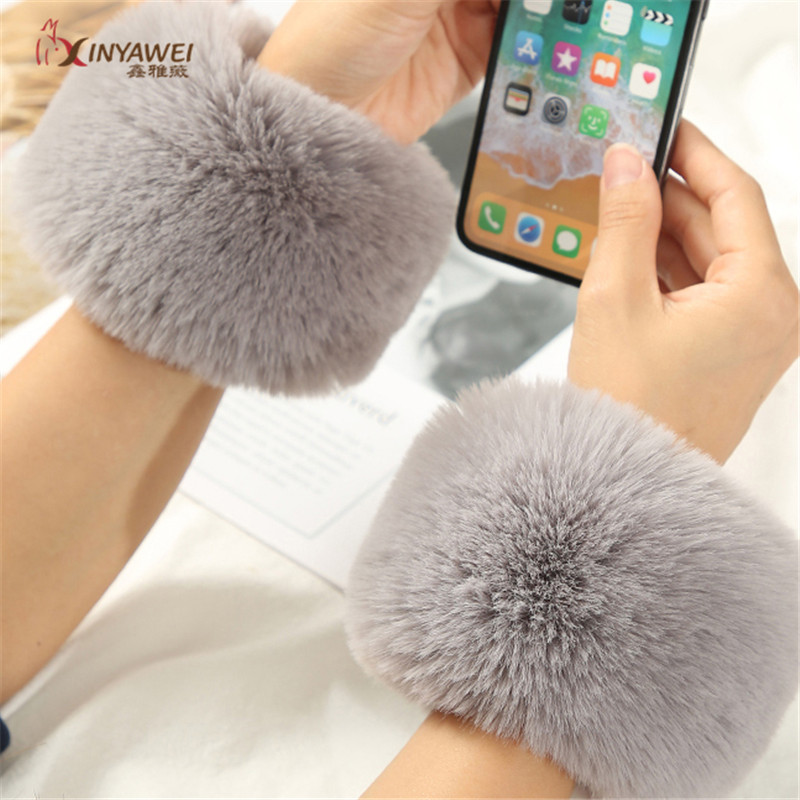 A Pair Of Windproof Faux Fur Plush Cuffs Wristband Winter Arm Warmer Women Thick Wrist Arms Gloves Woman Elastic.