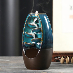 With 18Cones Free Gift Chinese traditional Waterfall Incense Burner Ceramic Incense Holder,Option for Mixed Incense Cones