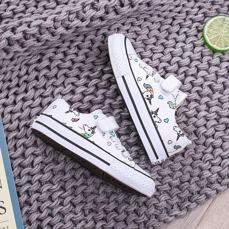 Image 5 - 2019 Fashion Kids Unicorn Canvas Sneakers Rainbow Vulcanized Shoes Hook & Loop Big Boys Shoes Girls Flat Footwear Sport TrainersSneakers   -