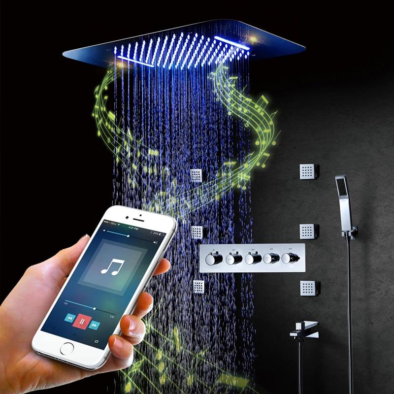 Bluetooth musique LED pomme de douche Spa pluie ensemble de douche grand débit d'eau douches robinet mélangeur Massage Jets salle de bain système de douche