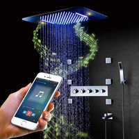 Bluetooth musique LED pomme de douche robinet pluie douche ensemble cascade salle de bain robinet thermostatique LED mélangeur douche haut-parleur système