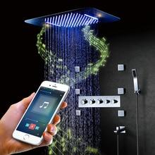 블루투스 음악 LED 샤워 시스템 탭 비 샤워 세트 폭포 욕실 수도꼭지 온도 조절 숨겨진 믹서 샤워 헤드 크롬