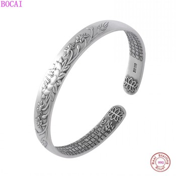 BOCAI 999 pure silver bracelet female retro Thai silver craft lotus Heart Sutra silver bracelet national style jewelry for women