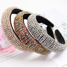 2021 regenbogen Strass Padded Stirnbänder Für Frauen Mädchen Luxus Voller Diamanten Schwamm Hair Haar Zubehör Weihnachten Geschenk