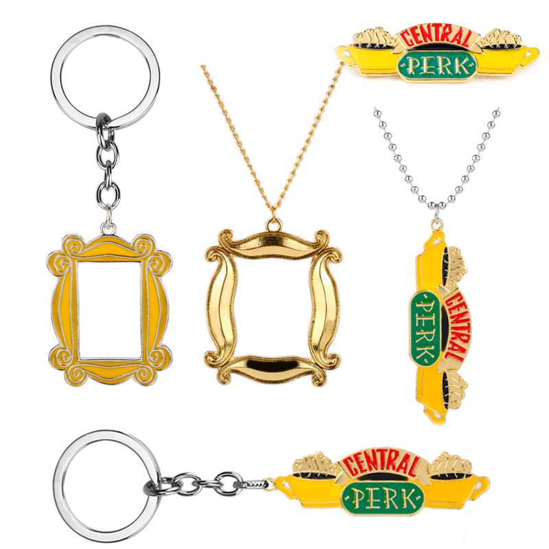 TV show Friends Keychain Necklace Central Perk Coffee Time Photo Frame Key Chain Best friend Car Keyring dropshipping jewelry image