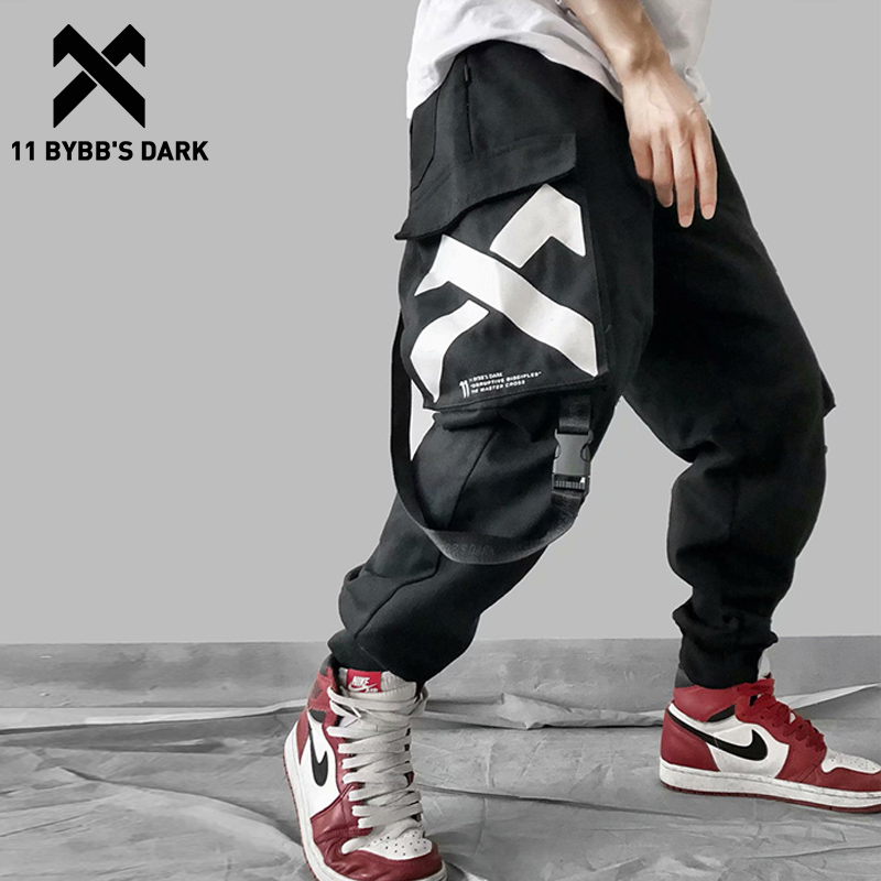 11 BYBB'S DARK Multi Pockets Printed Cargo Pants Men 2019 Harajuku Hip Hop Casual Ribbons Trousers Streetwear Joggers Sweatpants