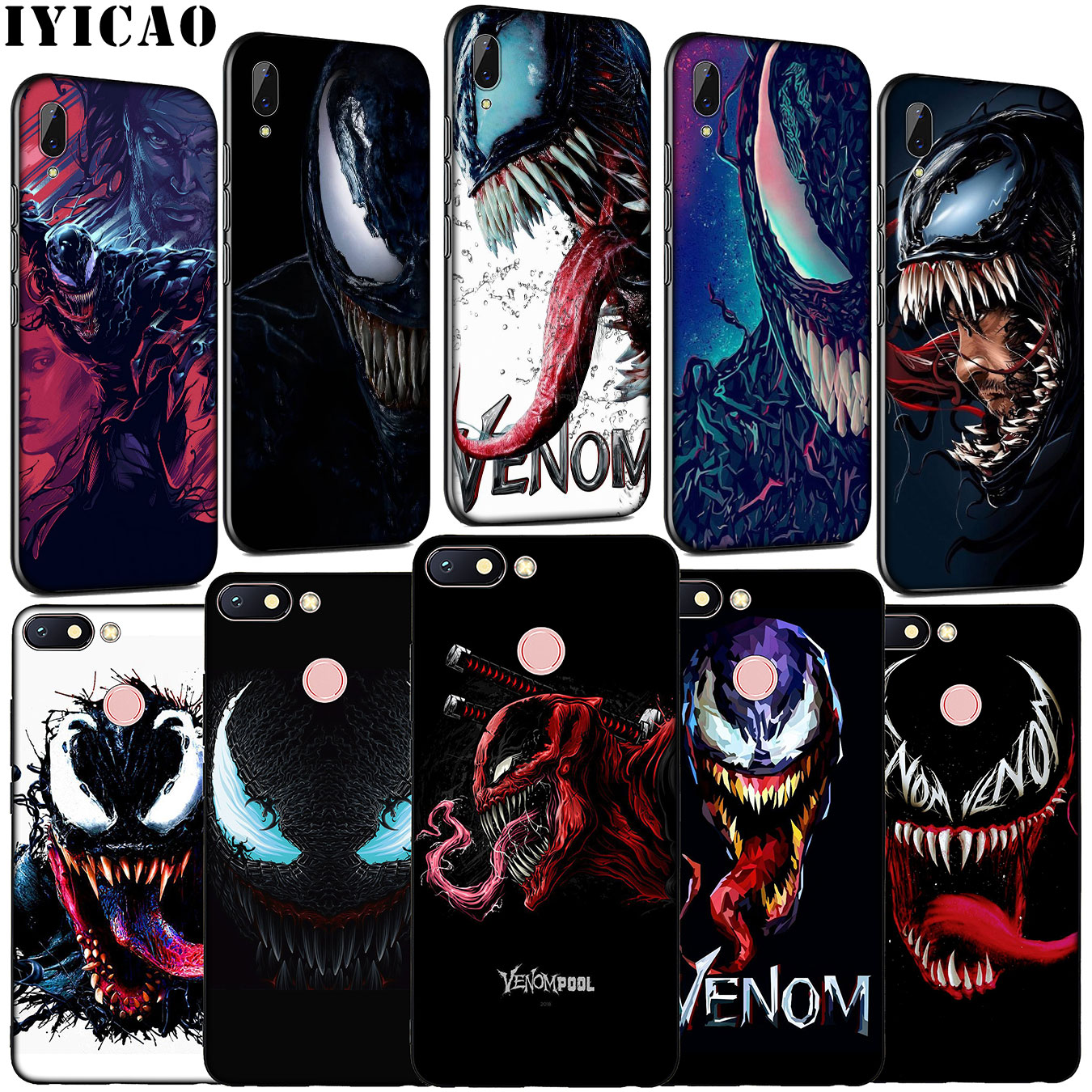 IYICAO <font><b>Marvel</b></font> Venom Hero Soft Silicone Phone <font><b>Case</b></font> for <font><b>Xiaomi</b></font> <font><b>Redmi</b></font> K20 GO 8A 7A 6A 5A 4A 4X <font><b>Note</b></font> 8 7 6 Pro 5 Plus Cover image