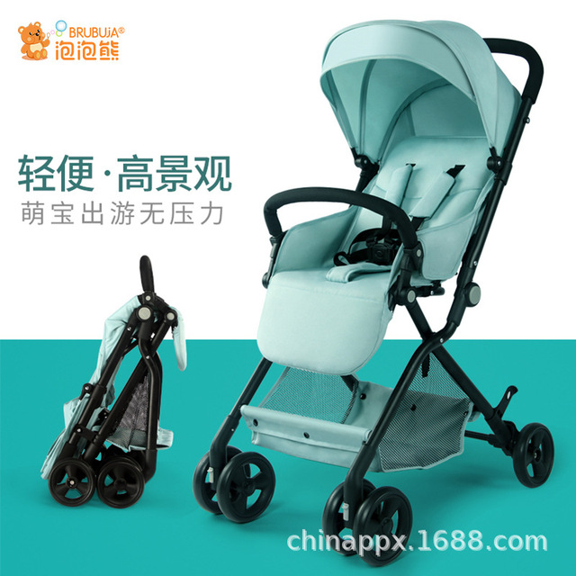 Baby Carriage Lightweight, High View, Four-wheeled Baby Carriage