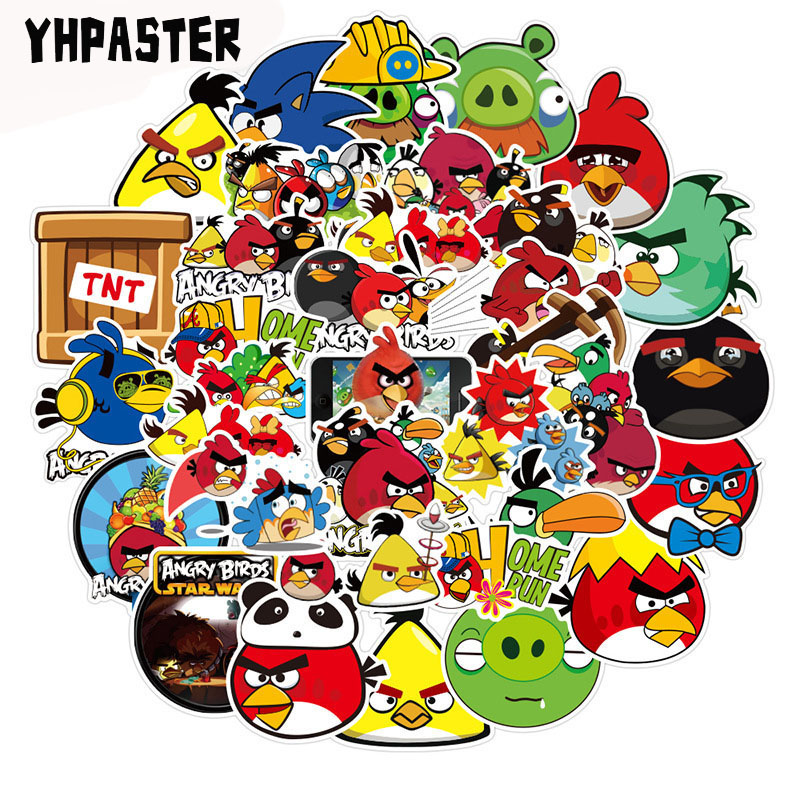 50pcs/pack Angry Birds Graffiti Stickers Cartoon Stickers For Laptop Luggage Motorcycle Phone Skateboard  Cartoon Pegatinas