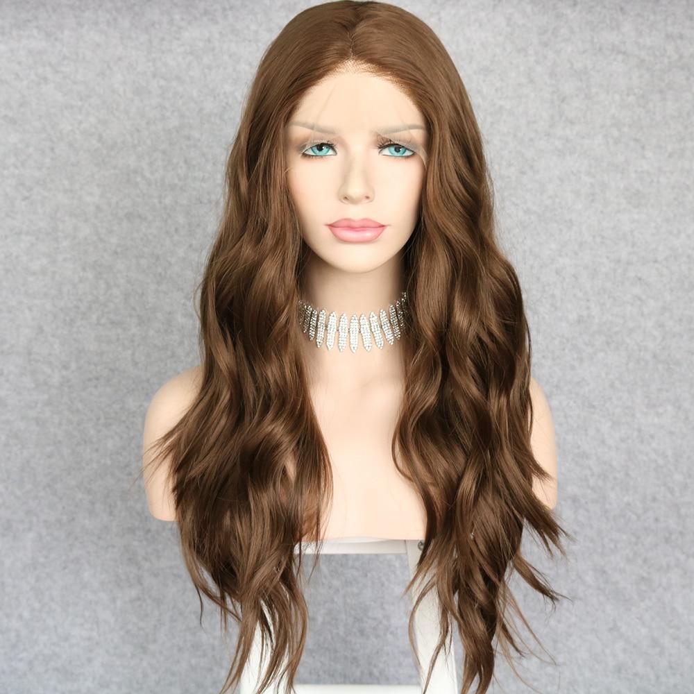 Lvcheryl longo resistente ao calor perucas sintéticas da parte dianteira do laço perucas de cabelo marrom natural ondulado perucas de cabelo de fibra de alta temperatura para mulher