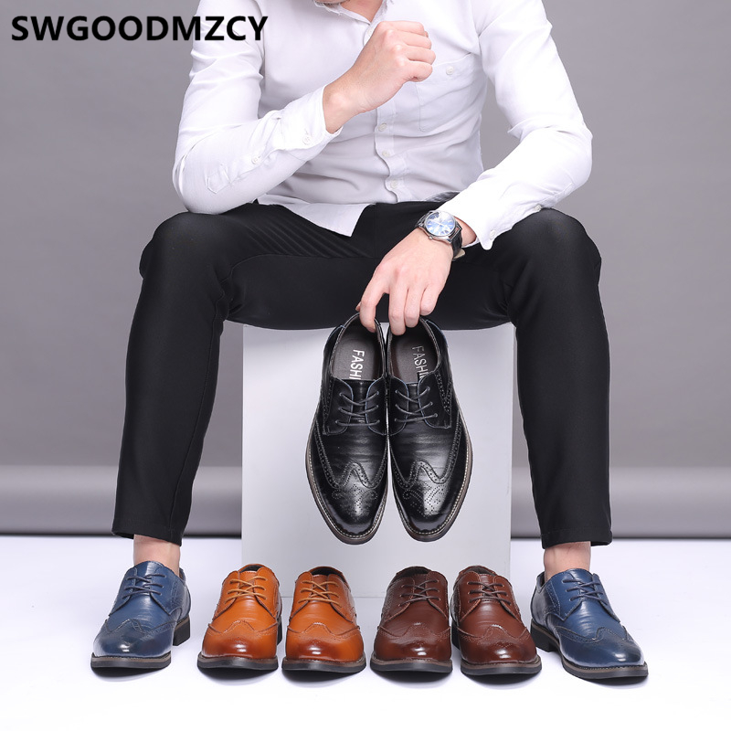Brogues Mens Formal Shoes Genuine Leather Oxford Black Plus Size Shoes Brown Dress Corporate Shoes For Men Scarpe Uomo Eleganti