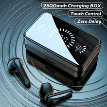 TWS Bluetooth mikrofonlu kulaklık kablosuz kulaklıklar su geçirmez Bluetooth kulaklık 2500mAh şarj kutusu 9D HiFi Stereo kulakiçi