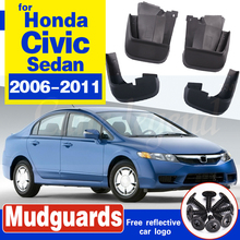 For Honda Civic 2006-2011 Mudflaps Splash Guards Front Rear Mud Flap Mudguards Fender 2007 2008 2009 2010 Set Molded Mud Flaps set for chevrolet silverdo 2007 2011 molded mud flaps mudflaps splash guards front rear mud flap mudguards fender yc101072
