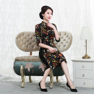 Image 3 - Autumn 2019 new mulberry silk cheongsam dress retro high end improved mid long 7 sleeve oder fashion