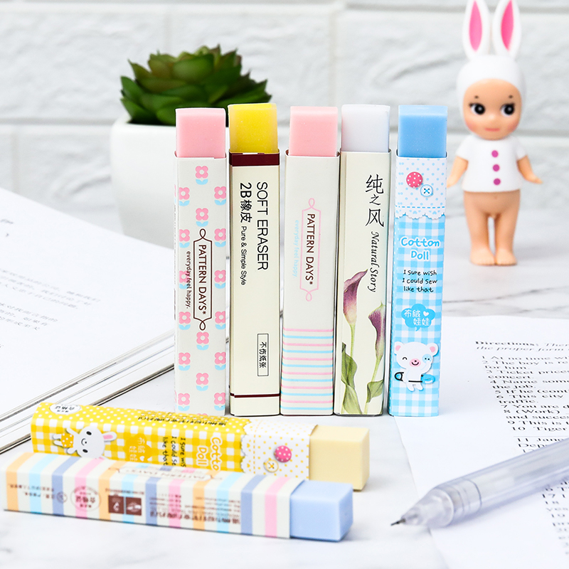 Cute Cartoon Rubber Student Children Kawaii Eraser Small Fresh Art Painting Stationery  Exam School Supplies Pencil Eraser