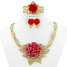 Liffly Fashion Women Jewelry Sets Red Rose Jewellery African Dubai Gold Bridal Wedding Jewelry Set Necklace Earrings Ring(China)
