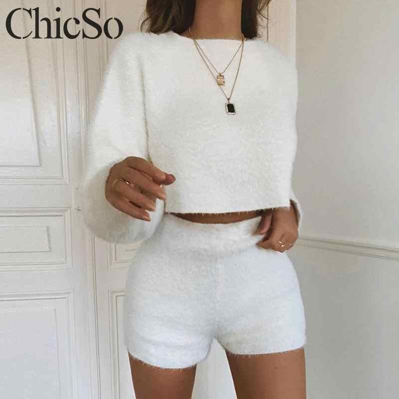 MissyChilli dwuczęściowy garnitur biały pluszowy sexy romper odzież streetwear na jesień i zimę krótki kombinezon kobiety ciepły z długim rękawem miękki playsuit