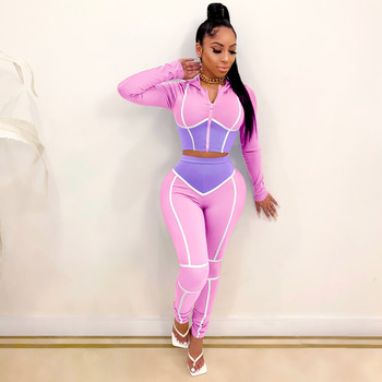 Sexy Women Set Color Patchwork Fitness Long Sleeve Crop Top + Pants Sportsuit Autumn Winter Clothes For
