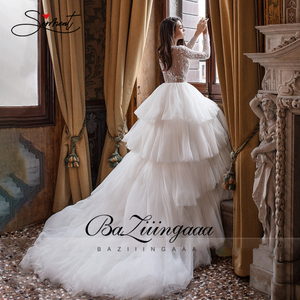 Image 3 - BAZIIINGAAA роскошное свадебное платье с длинным рукавом и v образным вырезом, гофрированное свадебное платье, свадебное платье, роскошное вышитое бисером платье для невесты