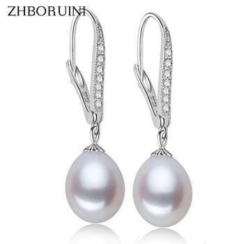 ZHBORUINI Fashion Pearl Earrings Natural Freshwater Pearl Pearl Jewelry Drop Earrings 925 Sterling Silver Jewelry For Woman Gift цена 2017
