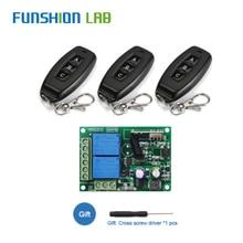 Módulo receptor por relé de 433Mhz, CA, 110V, 220V, 2 canales, transmisor, interruptor de Control remoto inalámbrico Universal para lámpara de Motor, luz LED DIY