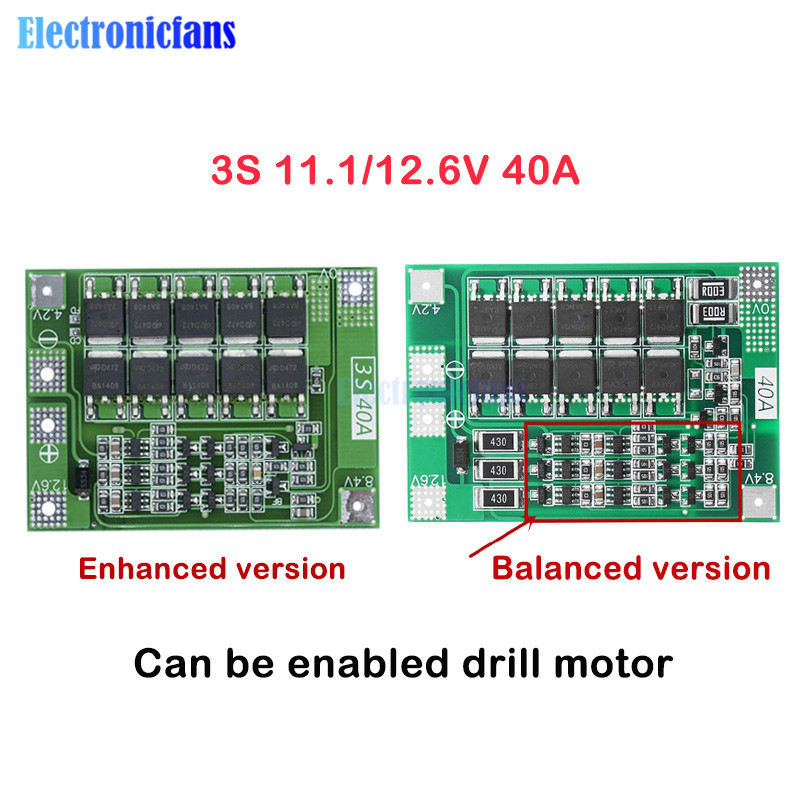 3S 40A Li-ion Lithium Battery Charger Lipo Cell Module PCB BMS Protection Board For Drill Motor 12.6V with Balance diymore