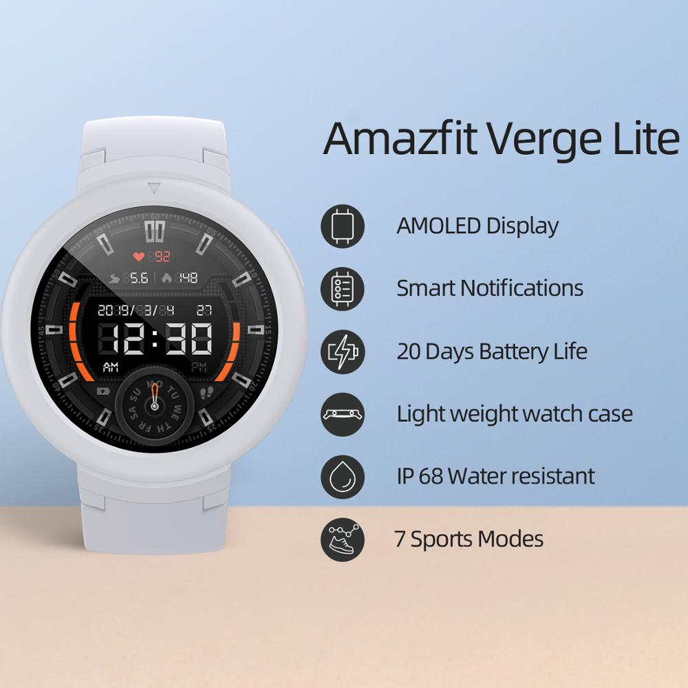 In stock Global Amazfit Verge Lite Smartwatch IP68 Smart Watch GPS GLONASS Long Battery Life AMOLED Display for Android iOS 1