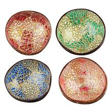 New Colorful Natural Coconut Shell Paint Bowl Desktop Jewelry Storage Handicraft Home Decoration Salad