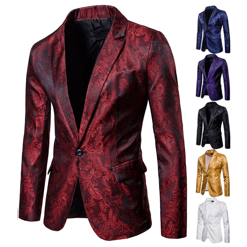 Night Club Bar Stage Wedding Banquet Party Fashion Men's Suit