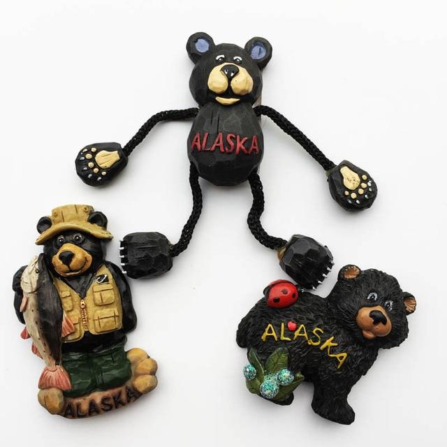 Alaskan Bear 3D Fridge Magnets Souvenir Alaska Magnetic Refrigerator Sticker Craft Resin Cartoon Animal Home Decor Gifts Ideas 1