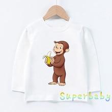 Children Curious George Monkey Print T shirt Baby Boys Girls Cartoon Funny Tops Kids Long Sleeve T-shirt,LKP5266