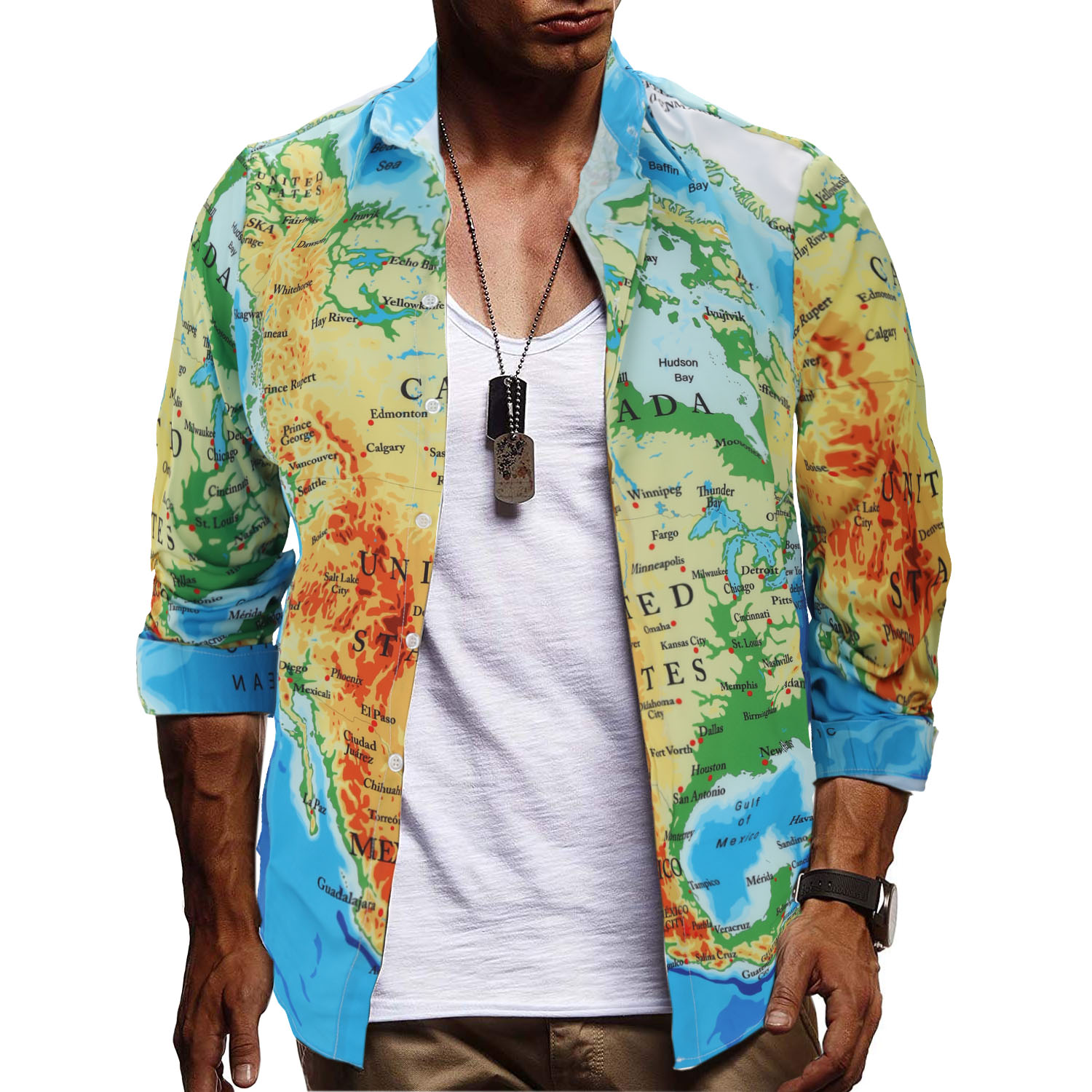 2019 new map print casual shirts for men good quality eu size slim fit long sleeve shirt men streetwear desgin clothing in Casual Shirts from Men 39 s Clothing