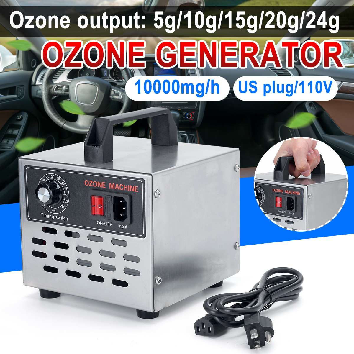 5g-24g Ozone Generator Ozone Machine Stainless Steel Air Purifier Air Cleaner Disinfection Cleaning