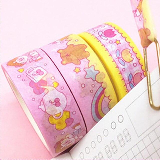 1Pc Kawaii ruban adhésif mignon dessin animé Washi ruban décor masquage rubans pour enfants Scrapbooking fournitures de travaux manuels papeterie