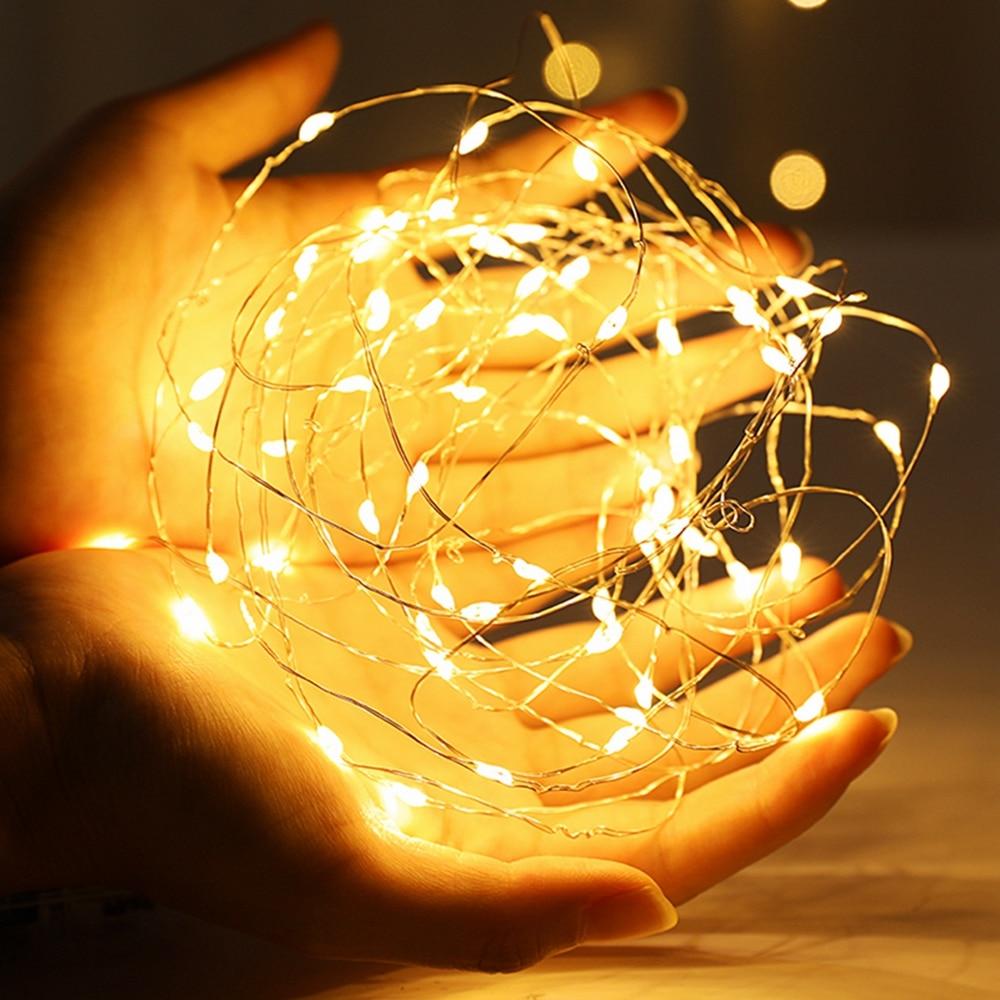 Guirlande de noël, guirlande de noël, lampe de décoration intérieure pour chambre à coucher et mariage, LED cordes lumineuses, 1-10M, fil de cuivre