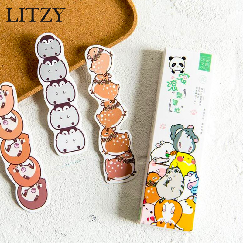 30 Pcs/lot Kawaii Animal Bookmark  Stationery Bookmark Paper Book Markers Marque Page Cute School Office Supplies Accessories