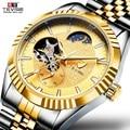 Механические часы TEVISE Tourbillon, автоматические мужские часы, светящиеся водонепроницаемые часы с фазой Луны, мужские повседневные механическ...