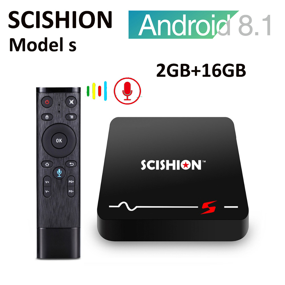 SCISHION Model S 2.4G WiFi 4K H.265 Voice Remote TV Box Android 8.1 2GB+16GB