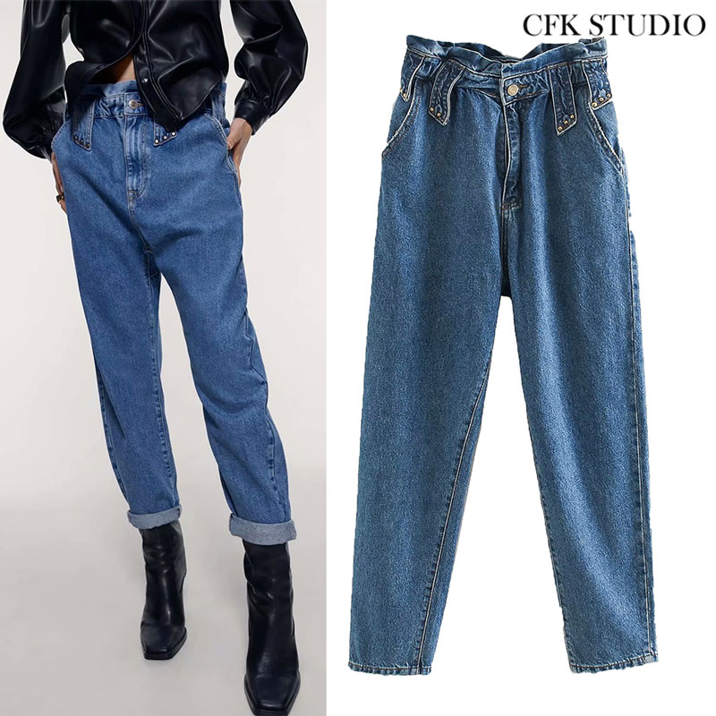 ZA Women Jeans 2020 New Fashion High Waist Embroidered Flares Streetwear Denim Plus Size Femme Haren Pants Loose Woman Jeans