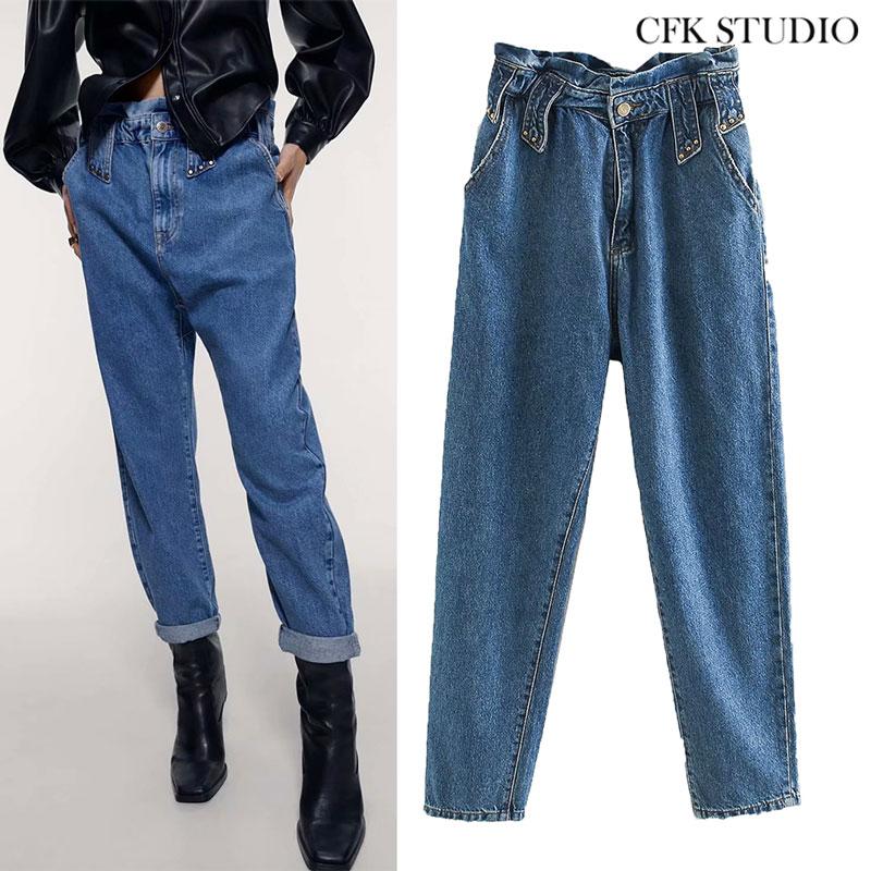 ZA Women Jeans 2020 New Fashion High Waist Embroidered Flares Streetwear Denim Plus Size Femme Haren Pants Loose Woman Jeans