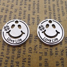 150pcs Smile Charms 16mm x 16mm DIY Jewelry Making Pendant antique silver color pengelley contraception 16mm film