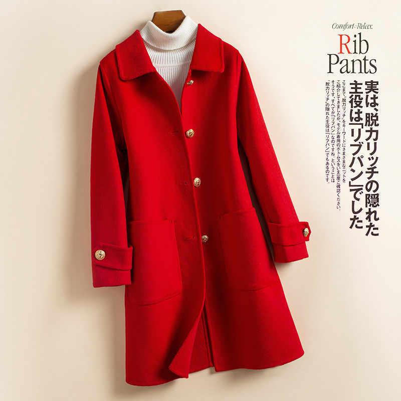 2019 New Women Coat Warm Winter Cashmere Coat Ladies Work Office Elegant Vintage Long Wool Blends Coats Female High quality P67
