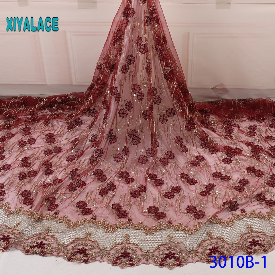 Luxury African Mesh Lace Fabrics 2019 High Quality Nigerian French Tulle Lace With Stones Net Lace Fabric For Wedding YA3010B-1