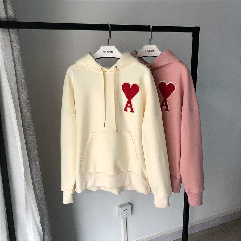 Women Hoodie Autumn Love Hooded Plus Velvet Sweatshirt